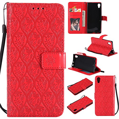 BestCatgift Xperia XA1 Wallet Hülle, [Rattan Flower] Xperia Z6 PU Leather Cover Wallet Phone Hülle für Sony Xperia Z6 / Xperia XA1 - Red