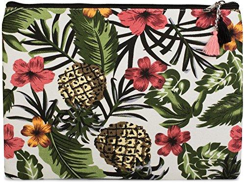 styleBREAKER Handtaschen Organizer Tropic mit Ananas, Blumen, Blüten und Palmen Aufdruck, Clutch, Kosmetiktasche, Tasche, Damen 02013010, Farbe:Mehrfarbig (Ananas-palme)