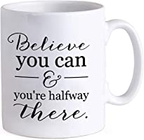 TIED RIBBONS Motivational Quote 'Believe You can and You're Halfway There' Printed Coffee Mug (325 ml)