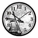 XiaYuan Salon de Moulin à Vent Néerlandais Noir et Blanc Européen, Ornements d'horloge Murale (Taille : 12Inches)