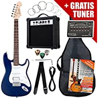 Rocktile ST PowerPack SET chitarra elettrica blu con amplificatore, borsa, accordatore, cavo