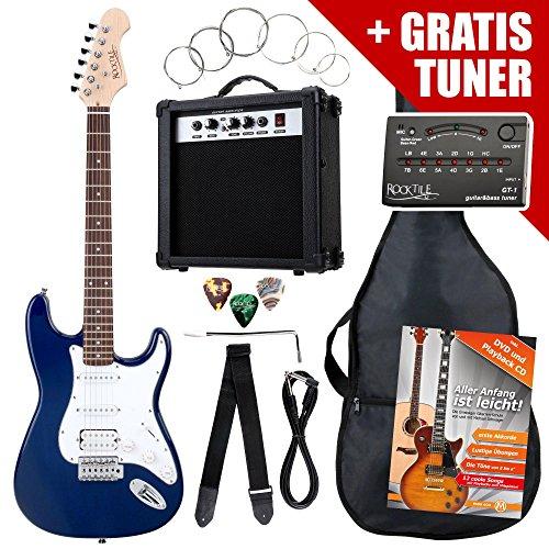 Rocktile ST-Pack Komplettset Power E-Gitarre Blau (Verstärker, Stimmgerät, Tremolo, Tasche, Kabel, Gurt, Plecs, Ersatzsaiten und Schule mit CD/DVD)