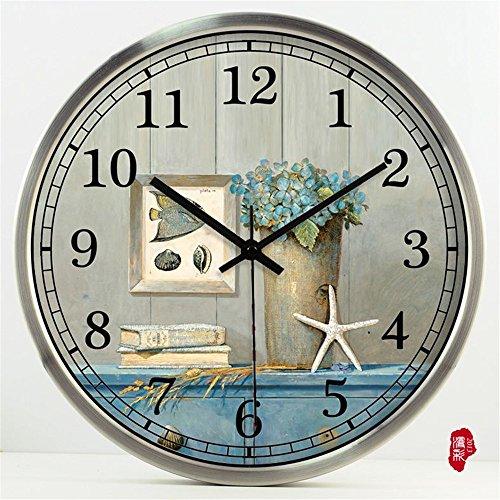 Gyps Home Wohnzimmer Schlafzimmer Büro Cafe Bar Decor Retro Wanduhr Original Vintage Rustikale Wanduhr Die einfache Garten Wanduhr in das Wohnzimmer ist mit antiken Uhren gehärtetes Glas Wanduhr, 35 cm eingerichtet