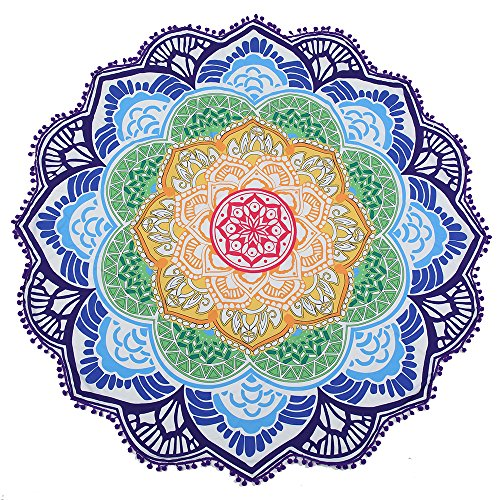 Toallas Redondas de Playa Hippie Mandala Tapices SUNKAX Estera de Playa Estilo Mandala Indio Psicodélico,Colgante de Pared Bohemio,Tapiz Hippie ,Esterilla de Yoga o para Picnic (azul)