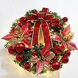 Brinny 45cm Weihnachtsdeko LED Weihnachtskranz Adventskranz Türkranz Kranz mit Rot Kugeln und Ball