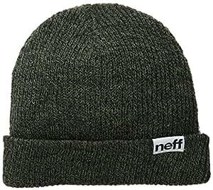 Neff Fold Heather Beanie Hat - Black/Olive, One Size