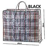 Pack Of 6Extra große Starke Aufbewahrung Laundry Einkaufstaschen–XL beweglicher Taschen mit Reißverschluss und Tragegriffe karierten–wiederverwendbar Store Reißverschluss Tasche–Schwarz Rot Blau, Extra Large