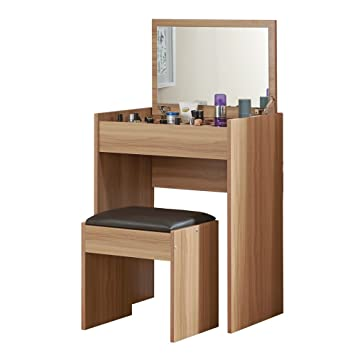 Wooden Dressing Table And Padded Stool With Flip Up Mirror, 10 Storage  Spaces For Makeup, Jewellery, Nail Varnish And Hair Accessories, Bedroom  Desk Ideal ...