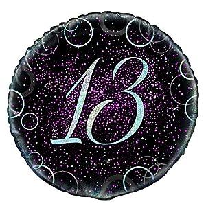 Unique Party Globo Foil de 13 cumpleaños, Color Rosa metálico Brillante, 45 cm (55791)