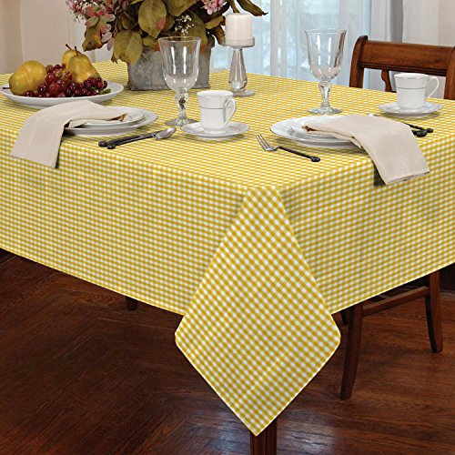 """Gingham Check Square Tablecloth Dining Room or Kitchen Table Linen 36"""" x 36"""" (Yellow)"""