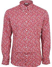 Homme Relco Rouge Floral Manche Longue Boutonné 100% Chemise Coton