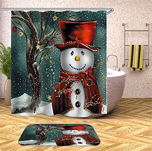 Feiertagsdekorationen. Schneemann Im Kostüm. Duschvorhang. Wasserdicht. 180X180Cm. Teppich. Plus Samt. 40X60Cm. (Meer Schwamm Kostüm)