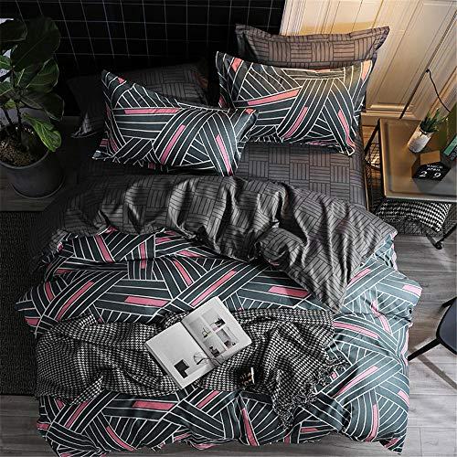 YUNSW Striped Plaid Bettbezug Reißverschluss Baumwollgewebe Bettbezug Erwachsene Kinder Weiche Tröster Fall Twin Voll Königin König B 220x230 cm - Set-blau-gold König Tröster