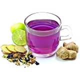BLUE TEA - Purple Tea Spiced Lemon Loose | 25g - 25 Cups| Ingredients : Butterfly Pea Flower, Lemon and Herbs | Caffeine…