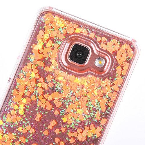 Galaxy A7 2016 Hülle,Mo-Beauty® Transparent (Gelb) Hardcase Schutzhülle 3D Kreative Liquid Bling Dynamisch Treibsand Flüssige Fließend Wasser Glitter Glitzer Glanz Sparkle Klar Hart Plastik Tasche Kri Gelb #1