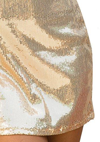 Leg Avenue 86594 - Paillettenkleid mit Tiefem V-Ausschnitt Vorn, Größe L, gold - 5