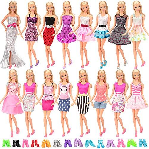 601b3dbd0 15X articulos 5 X Vestidos estilo al azar 10 pares zapatos para Barbie  Muñeca gegalo Navidad - Tienda Juguetes