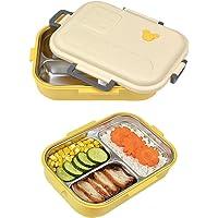 800 ml Bento Box, Boîte à Repas avec Trois Compartiments, Anti-Fuite Bento Box, Boîte à Bento L'acier Inoxydable…