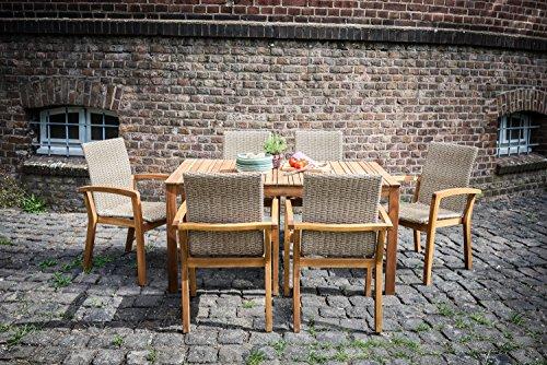 """Ribelli Ribelli® Gartentisch """"Norderney"""" aus Holz - Esstisch braun für Garten, Terrasse & Balkon - Holztisch rechteckig aus Akazie massiv - Tisch wetterfest für draußen"""