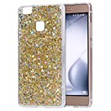 Cover Huawei P9 Lite, Custodia Huawei P9 Lite Brillantini, EUWLY Huawei P9 Lite Cover Silicone Morbido Ultra Slim Transparente Custodia Case Lusso Bling Bling Glitter Perlina Paillettes Silicone Cover Caso Ultra Sottile Flessibile Gel TPU Silicone Case Elegante Fashion Design Gomma Copertura Posteriore Anti-Scratch Antiurto Protectiva Bumper Shell Brillante Crystal Clear Backcover Soft Cover Case per Huawei P9 Lite + Stilo Penna Touchscreen-Glitter Oro