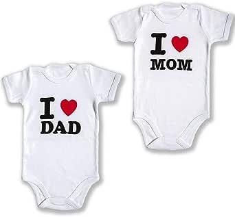 TURTLEDALE Body per Bambini Manica Corta 2 Pezzi per 0-3 Mesi, Perfetto Come Regalo per Baby Shower, Love Mom, Love Dad,100% Cotone
