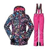 Wonny Damen 2 Teilig Skianzug Wasserdicht Schneeanzug Jacke und Hosen Unisex Skiset Rosa M