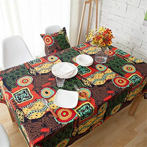 SONGHJ Baumwolle Leinen Tischdecke Küche Rechteck Tischdecke Hochzeit Staubdicht Esszimmer Picknick Halloween Tischdecke A 140x160cm