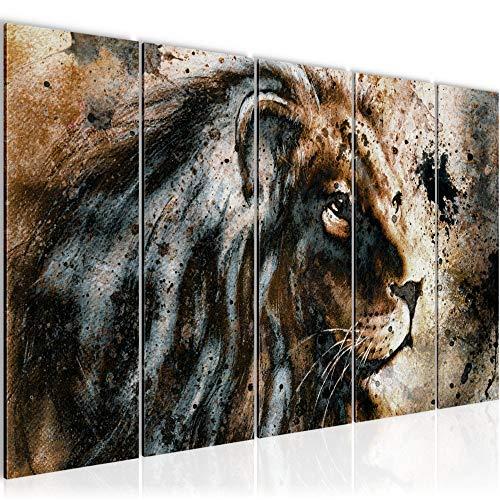 Bilder Afrika Löwe Wandbild 150 x 60 cm Vlies - Leinwand Bild XXL Format Wandbilder Wohnzimmer Wohnung Deko Kunstdrucke Braun 5 Teilig - MADE IN GERMANY - Fertig zum Aufhängen 002256a
