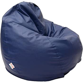 Relax Blue XXL Size leather Bean Bags Cover(without filling)
