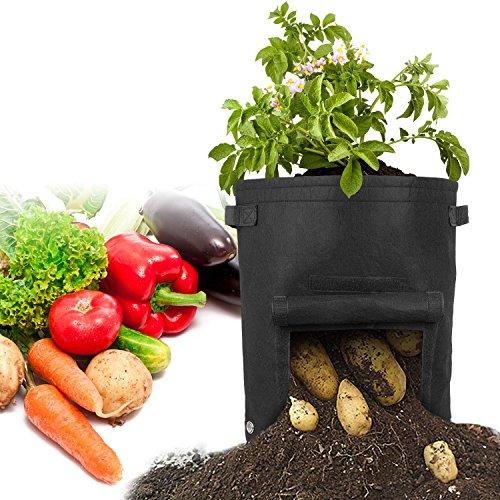 ATKKE Pflanzsack, 41 l Stoffpflanzgefäß für Kartoffeln, Radieschen, Möhren, Zwiebeln, Tomaten & Anderen Gemüsepflanzen HG31