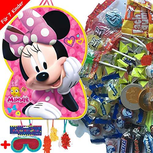 Pinata-Set * Minnie Mouse * mit XXL-Piñata + Maske + 100-teiliges Süßigkeiten-Füllung No.1 von Carpeta | Spanische Zugpinata für bis zu 7 Kinder | Tolles Disney-Spiel zum Kindergeburtstag