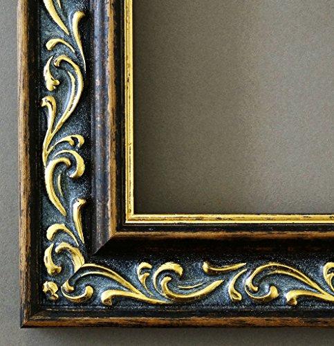 4h Antik (Bilderrahmen Verona Braun Gold 4,4 - mit Passepartout in Weiß - 25 Größen - Außenmaß 12x12, Bildmaß 9x9 - Wechselrahmen mit Floatglas 2mm ( Normalglas) - Antik, Barock)