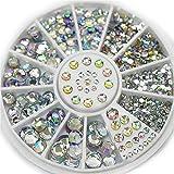 Zhuotop White Nail Rhinestones Multicolor 5 Size Acrylic Glitter Charms 3D Nail Art Decoration Wheel DIY Tool