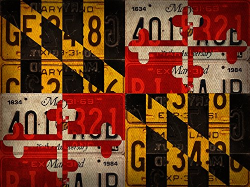Design Turnpike – Maryland State Flag License Plate Art Kunstdruck (81,28 x 60,96 cm)