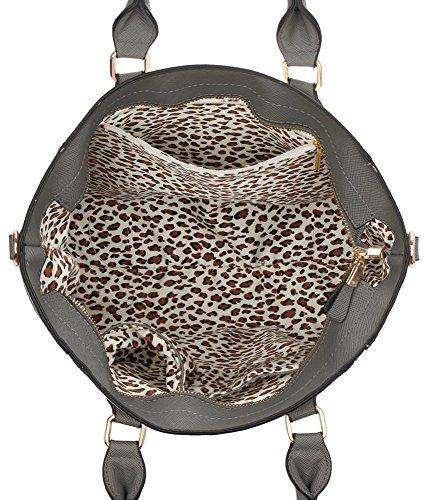 LeahWard® Tragetaschen Zum Damen mode Qualität Herrlich Kunstleder Berühmtheit Stil Vorhängeschloss Tasche Damen Schnell verkaufend Handtasche CWS0031A CWS0031L Grau/Weiß
