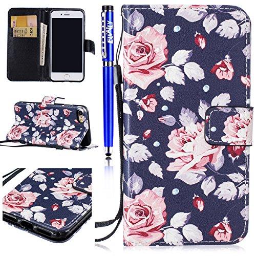 EUWLY Case Cover per iPhone 6/6s (4.7),Ultra Slim Sottile Custodia Protettiva Portafoglio pelle PU Case Lusso Flip Stand Slot Funzione di Supporto Leather Wallet Case per iPhone 6/6s (4.7)-Occhiali  Fiore di rosa cinese