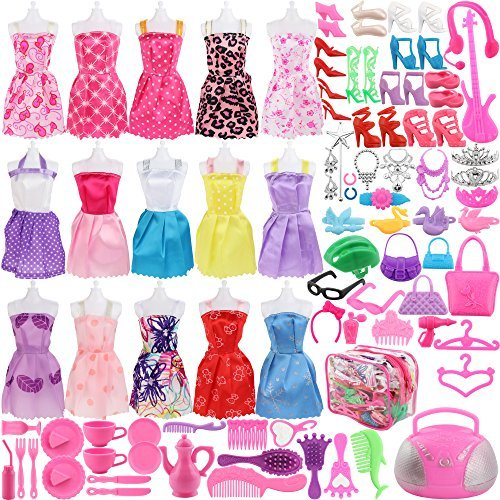 SOTOGO Barbie Doll Clothes Set Includes 15 Gown Outfits Accessories, 106 Pieces