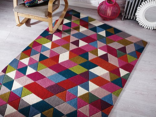 Flair Rugs Illusion Prism - Dick Modern handgetuftet Wolle Geometrie Design Pink Multi farbige Teppich - 120x170cm - Prism Multi Teppich