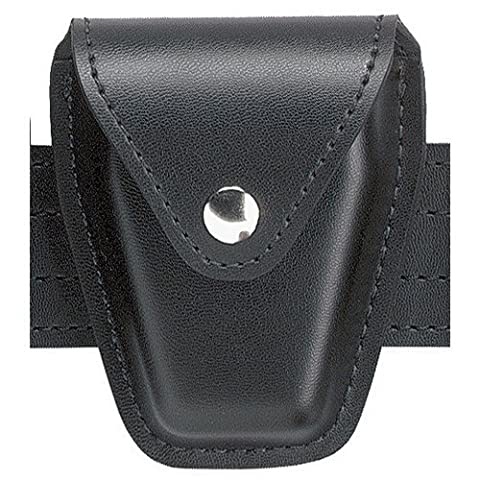 Safariland Model 190 Handcuff Case With Top Flap And Tapered Bottom, Black, Basketweave With Hidden Snap, For Standard Hinged Handcuffs