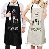 VAMEI Paar Schürzen Einstellbare Latzschürze Wasserdicht mit 2 Taschen Lustige Küchenschürzen für Paare für Zuhause Küchenrestaurant Kaffeehaus Hochzeit Geburtstag Jubiläum 2pack