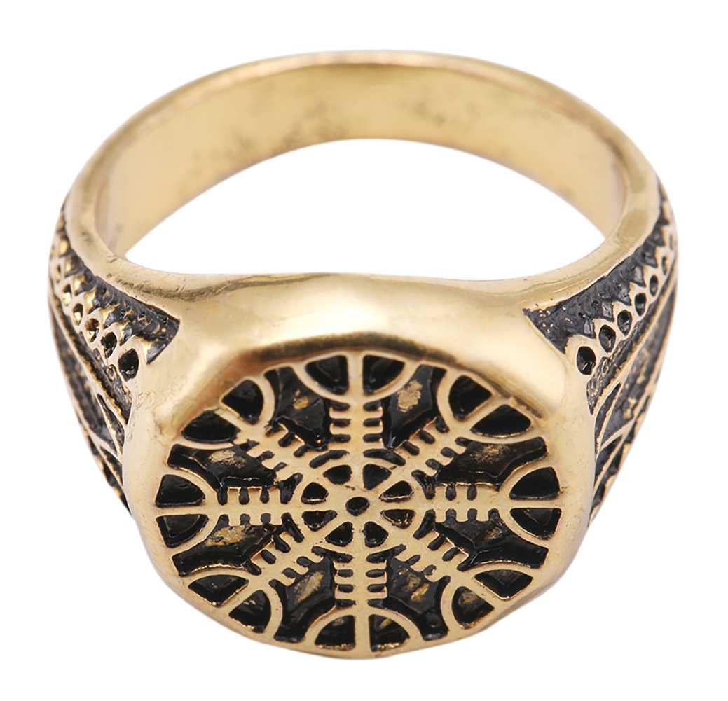 VASSAGO Vintage Gold Nordic Viking Helm of Awe Aegishjalmur Talisman Finger Size 8 Party Ring for Men Boys