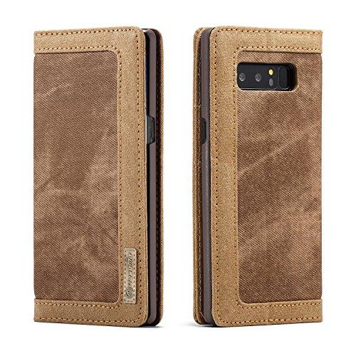 CaseMe iPhone 8 Plus Doppel Farbe Safe Kartensteckplatz mit Brieftasche Matte PU-Leder-Jeans-Kasten-Abdeckung Blau Brown