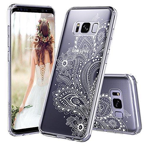 MOSNOVO Galaxy S8 Hülle, Paisley Henna Blumen Weiß Muster TPU Rahmen mit Hart Plastik Hülle Durchsichtig Schutzhülle Transparent für Samsung Galaxy S8 (2017), Galaxy S8 Case (Paisley Floral)