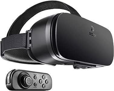 DESTEK V4 VR Brille, 103° FOV, HD Virtual Reality mit Bluetooth Fernbedienung für iPhone X/Xs/Xs Max/XR 8 7 6 6s Plus, Samsung S9 S8 S7 S6/Plus/edge Note 9 8, HUAWEI und andere Handys mit 4,5 – 6 Zoll