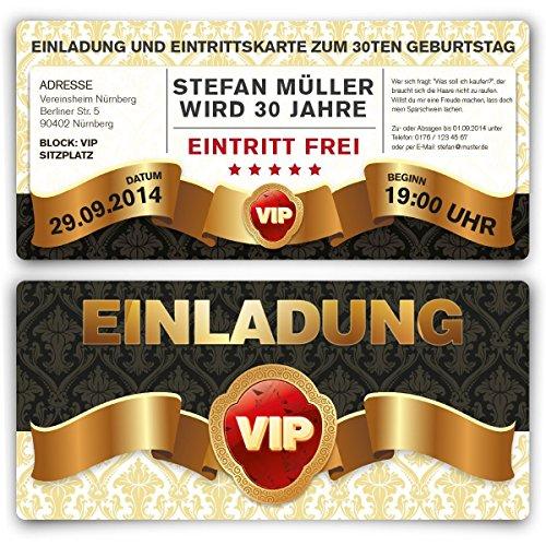 Einladungskarten Zum Geburtstag (30 Stück) VIP Karte Ticket Einladung Mit  UV Lack, Edel: Amazon.de: Bürobedarf U0026 Schreibwaren