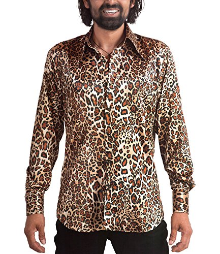 Comycom 70er Jahre Leoparden Muster Hemd, Mehrfarbig, XL