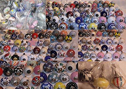 9x Perilla Muebles Tiradores Cerámica Vintage Antique Porcelana Shabby Chic Perilla Muebles Rummage oferta como un conjunto de 9 W1 mezcla colorida - Mangos, tiradores, Gabinete, Cajón, Cómoda