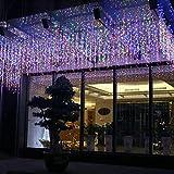 FFTONG LED Lichterketten Eiszapfen Lichterkette Wasserdicht Eisregen Lichter Innen- und Außenbereich Weihnachtsbeleuchtung Xmas Lichtschlauch Eisregen-Lichterkette (Bunt, 4M, 96LED)
