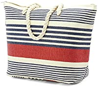 Large Striped Beach Bag with Soft Rope Handles (BZ4898 Navy)