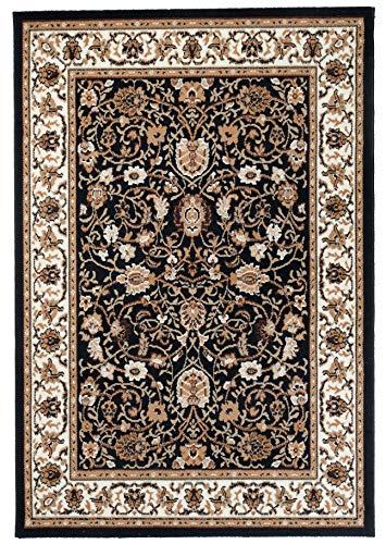 Carpeto Rugs Teppich Orientalisch Wohnzimmer Kurzflor Esszimmer Beige Schwarz 120 x 170 cm M - Schwarz Persian Rug